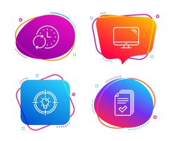 Idea, Update time and Computer icons simple set. Handout sign. Solution, Refresh clock, Pc component. Documents example. Science set. Speech bubble idea icon. Colorful banners design set. Vector