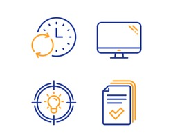Idea, Update time and Computer icons simple set. Handout sign. Solution, Refresh clock, Pc component. Documents example. Science set. Linear idea icon. Colorful design set. Vector