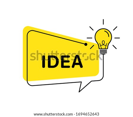 Idea vector banner light bulb and speech bubble. Vector isolated illustration. Idea concept illustration. Creative idea vector design. Lamp idea design. EPS 10