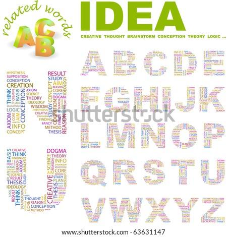 IDEA. Vector letter collection. Wordcloud illustration.