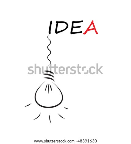 Idea word with hanging bulb isolated on white background