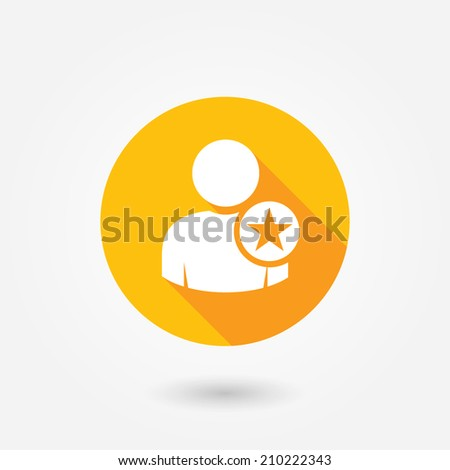 Ideal Man. Flat icon design with long shadow. Avatar sign, Favorite man with star. User icon. Good man symbol. Best quality person icon. Best employee icon, star character, good, man, rating, recruit