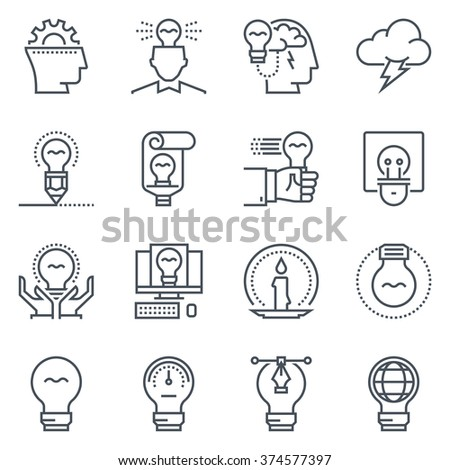 Ideas and lamps icon set suitable for info graphics, websites and print media. Black and white flat line icons.