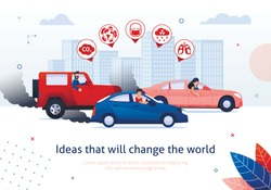 Ideas That Will Change The World. People Drive Petrol Engine Car Vector Illustration. Dirty Air Pollution Toxic Exhaust Gas. Global Warming Problem. CO2 Smog Health Bad Effect. Ecology Danger