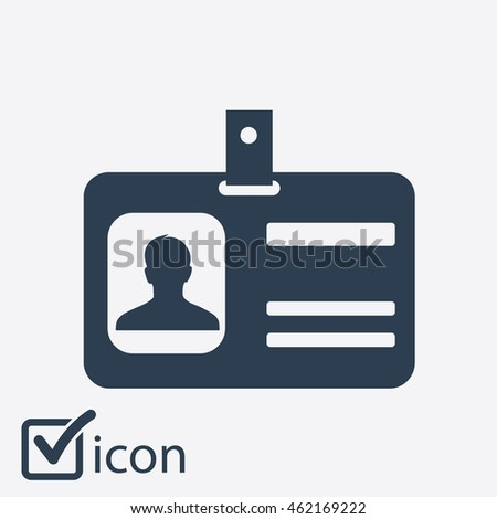 Identification card icon. Flat design style. EPS 10.