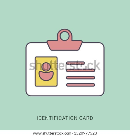 Identification Card icon. flat illustration of Identification Card. solid color with outline concept.