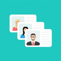Identification Card. Personal info data. Identity document with person photo and text clipart. Flat design, vector illustration on background