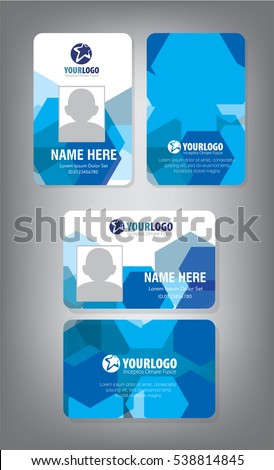 Identification Horizontal and Vertical id cards set with elements fresh color