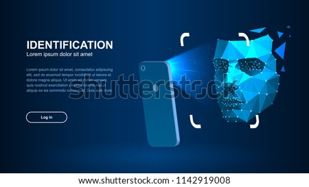 Identification of a person through the system of recognition of a human face. The smartphone scans a person's face forming a polygonal mesh consisting of lines and dots. Vector illustration.