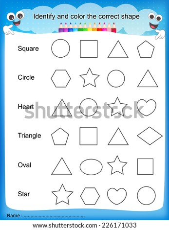 math worksheet : identify and color the correct shape colorful printable kids  : Colors Worksheets For Kindergarten