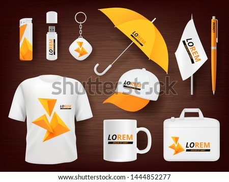 Identity. Business corporate souvenir promotion stationery items uniform badges packages pen lighter cap vector realistic mockup. Illustration of cup and t-shirt, mug and pencil, accessory items