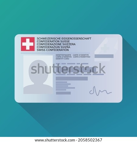 Identity card of the Swiss Confederation (Identity card and Swiss Confederation are written in the 5 official languages: French, German, Italian, English, and Romansh) (Flat design) Foto stock ©