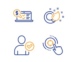 Identity confirmed, Paint brush and Online accounting icons simple set. Seo target sign. Person validated, Creativity, Web audit. Click aim. Linear identity confirmed icon. Colorful design set. Vector
