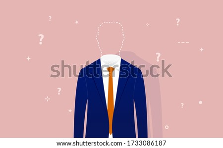Identity crisis - anonymous man with no personality whose head is replaced with dotted line. Question marks flying around. Loosing yourself or oneself concept. Vector illustration.