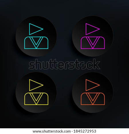 Ideo blogger dark badge color set icon. Simple thin line, outline vector of web icons for ui and ux, website or mobile application