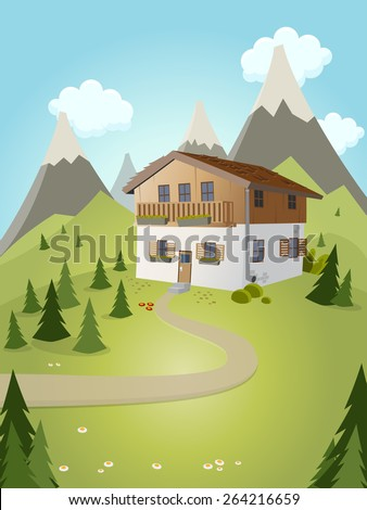 idyllic cartoon house with