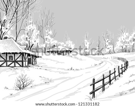 Idyllic winter landscape vector hand drawing