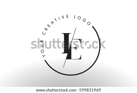 IE Letter Logo Design with Creative Intersected and Cutted Serif Font. #599831969