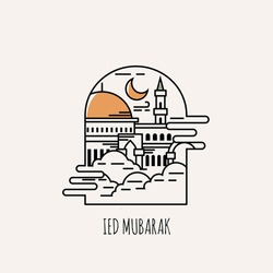 Ied Mubarak, islamic day of ied. Illustration vector graphics of mosque on the sky. perfect for posters, wallpapers, greeting cards, etc.