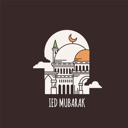 IedMubarak, Islamic days of Ied. Illustration vector graphics of mosque. perfect for posters, wallpapers, greeting cards, etc.