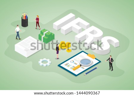 ifrs international financial reporting standards concept with team people and report document with isometric modern flat style - vector