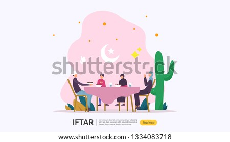 Iftar Eating After Fasting feast party concept. Moslem family dinner on Ramadan Kareem or celebrating Eid with people character. web landing page template, banner, presentation, social or print media
