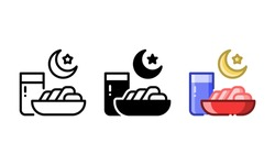 Iftar food icon. With outline, glyph, and filled outline styles