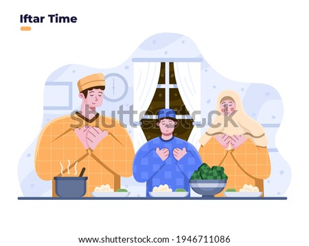 Iftar party with family illustration with people praying before iftar together. Ramadan Iftar dinner together. Muslim person starting iftar eating. Ramadan month activities. Buka puasa bersama.