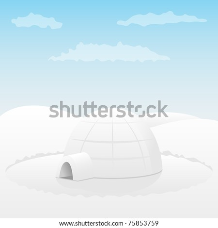 Igloo. Arctic landscape. Vector illustration.