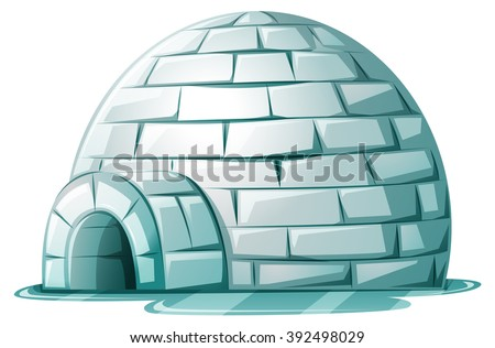 igloo on icy ground illustration