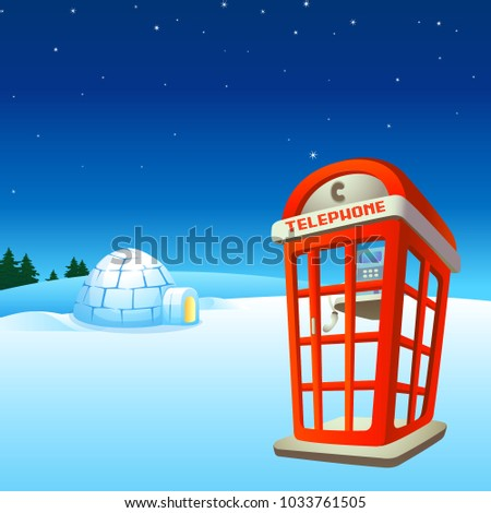igloo with red phone booth