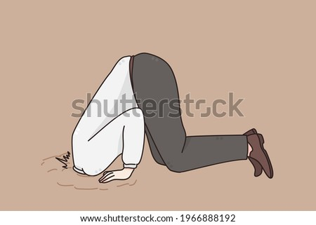 Ignoring problems in business concept. Man Businessman hiding his head in sand escaping from problems over grey background vector illustration  Stock photo ©