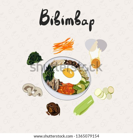 IIllustration for recipe bibimbap. Bibimbap korean traditional dish with fried egg. Asian cuisine. Set of ingredients for cooking bibimbap. Hand drawn vector colorful illustration.