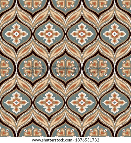 Ikat border. Geometric folk ornament. Ink on clothes. Tribal vector texture. Seamless striped pattern in Aztec style. Ethnic embroidery. Indian, Scandinavian, Gypsy, Mexican, African rug.