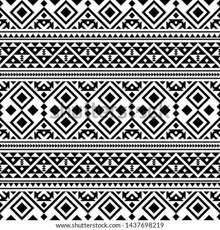 Black and white aztec seamless pattern.… Stock Photo ...
