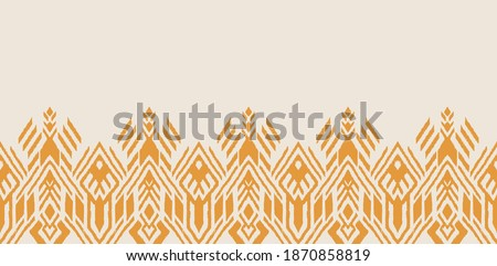 Ikat geometric folklore ornament. Oriental vector damask pattern. Ancient art of Arabesque. Tribal ethnic texture. Spanish motif on the carpet. Aztec style. Indian rug. Gypsy, Mexican embroidery. Foto d'archivio ©