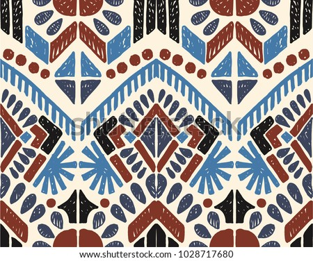 Ikat geometric folklore ornament. Tribal ethnic vector texture. Seamless striped  pattern in Aztec style. Figure tribal  embroidery. Indian, Scandinavian, Gypsy, Mexican, folk pattern.  - Shutterstock ID 1028717680
