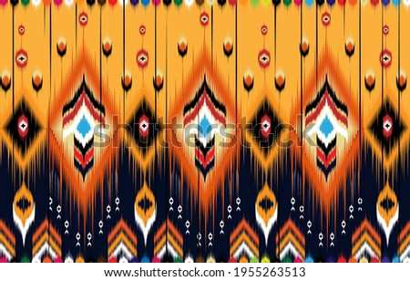 Ikat geometric folklore ornament. Tribal ethnic vector texture.  Seamless striped pattern in Aztec style. Figure tribal embroidery.  Indian, Scandinavian, Gyp sy, Mexican, folk pattern.ikat pattern