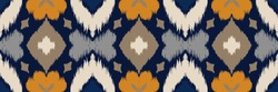 Ikat geometric folklore ornament with diamonds and flowers. African rug. Tribal ethnic vector texture. Seamless pattern in Aztec style. Folk embroidery. Indian batik. Mexican decor.