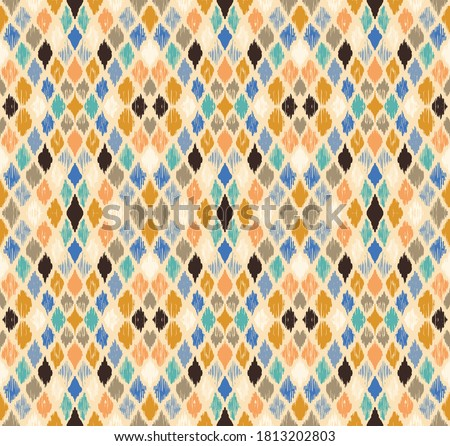 Ikat geometric folklore ornament with diamonds. Tribal ethnic vector texture. Seamless striped pattern in Aztec style. Folk embroidery. Indian, Scandinavian, Gypsy, Mexican, African rug. Foto d'archivio ©