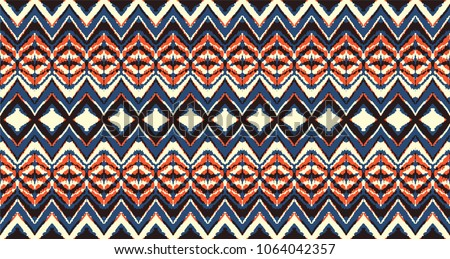 53b645aa Ikat seamless pattern. Vector tie dye shibori print with stripes and  chevron. Ink textured