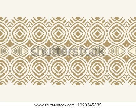 Ikat seamless pattern. Vector tie dye shibori print with stripes and chevron. Ink textured japanese background. Ethnic fabric vector. Bohemian fashion. Endless watercolor texture. African rug. Stock photo ©