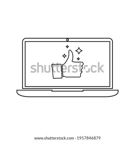 Ikon vektor datar komputer laptop atau notebook untuk aplikasi dan situs web Zdjęcia stock ©