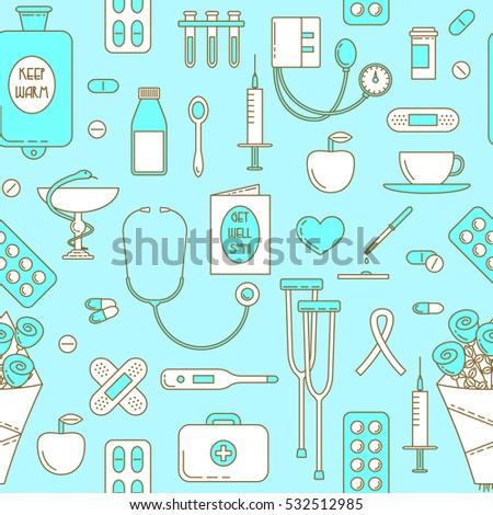 ill design  medicine line icons
