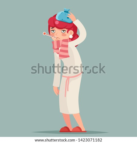 Ill female cold virus flu disease illness sick medicine woman cartoon character design vector illustration