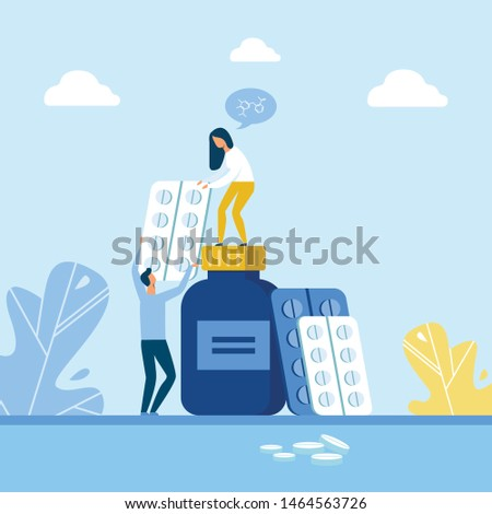 Ill Prevention Medication and People Characters. Cartoon Man Giving Flat Blister with Tablets to Woman Standing in Plastic Drugs Bottle. Disease Treatment, Painkillers, Vitamins. Vector Illustration
