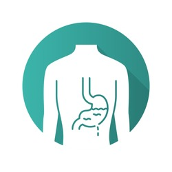 Ill stomach flat design long shadow glyph icon. Gastritis. Sore human organ. People disease. Unhealthy digestive system. Sick internal body part. Gastrointestinal tract. Vector silhouette illustration