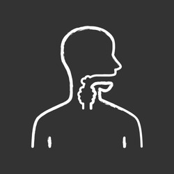 Ill throat chalk icon. Angina, tonsillitis. People disease. Upper section of alimentary canal. Sick internal body part. Gastrointestinal tract. Isolated vector chalkboard illustration