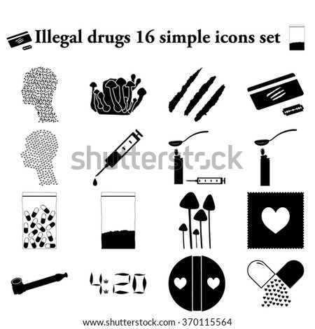 illegal drugs 16 simple icons