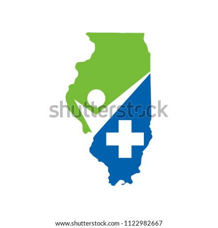 Illinois and health care logo. vector illustration.